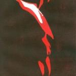 Männlicher Torso Rot - Holzschnitt