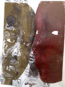 Afrikanischer Mann und afrikanische Frau Linolschnitt