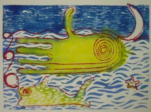 Der Tintenfisch winkt dem Mond zu - Mixed Media