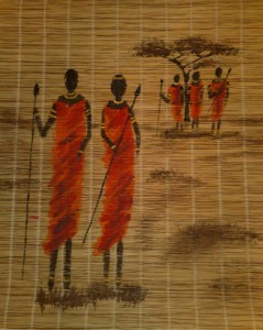 Fünf Massai-Krieger Acryl auf Holz