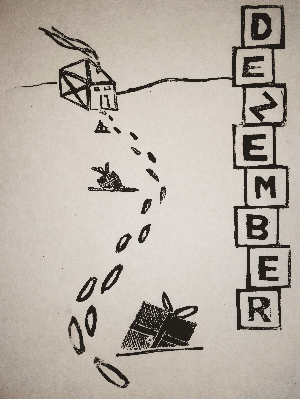 Kalenderblatt Arbeitswelt Dezember Linolschnitt