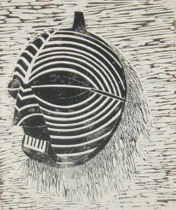Kriegsmaske der Luda - Linolschnitt