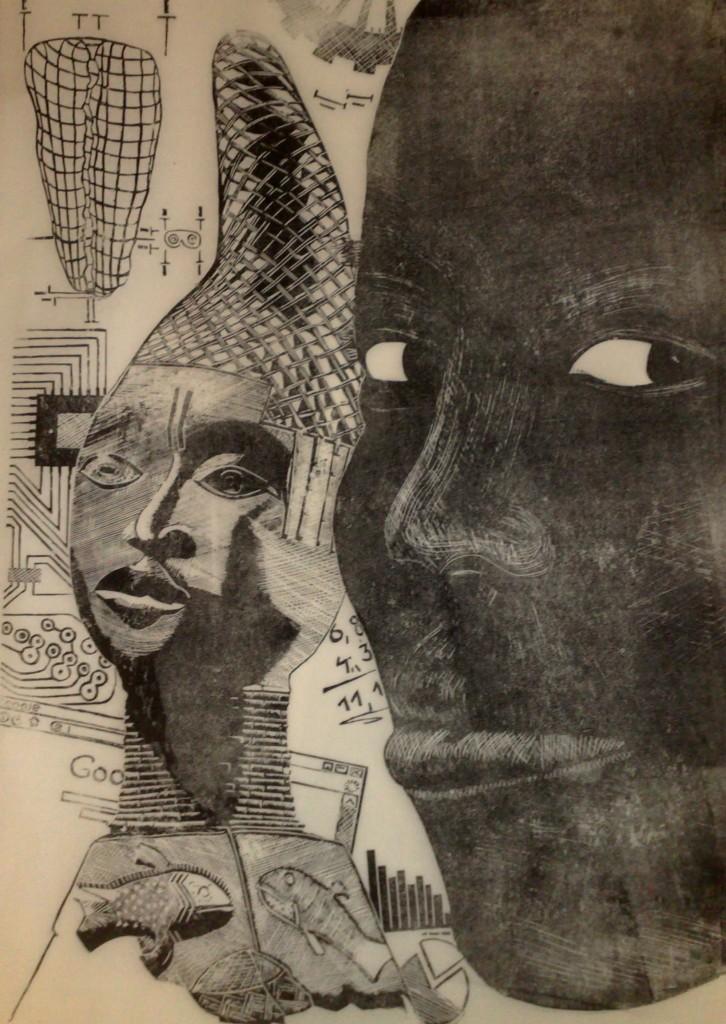 Mama Afrika Linolschnitt