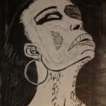 Society Lady Linolschnitt