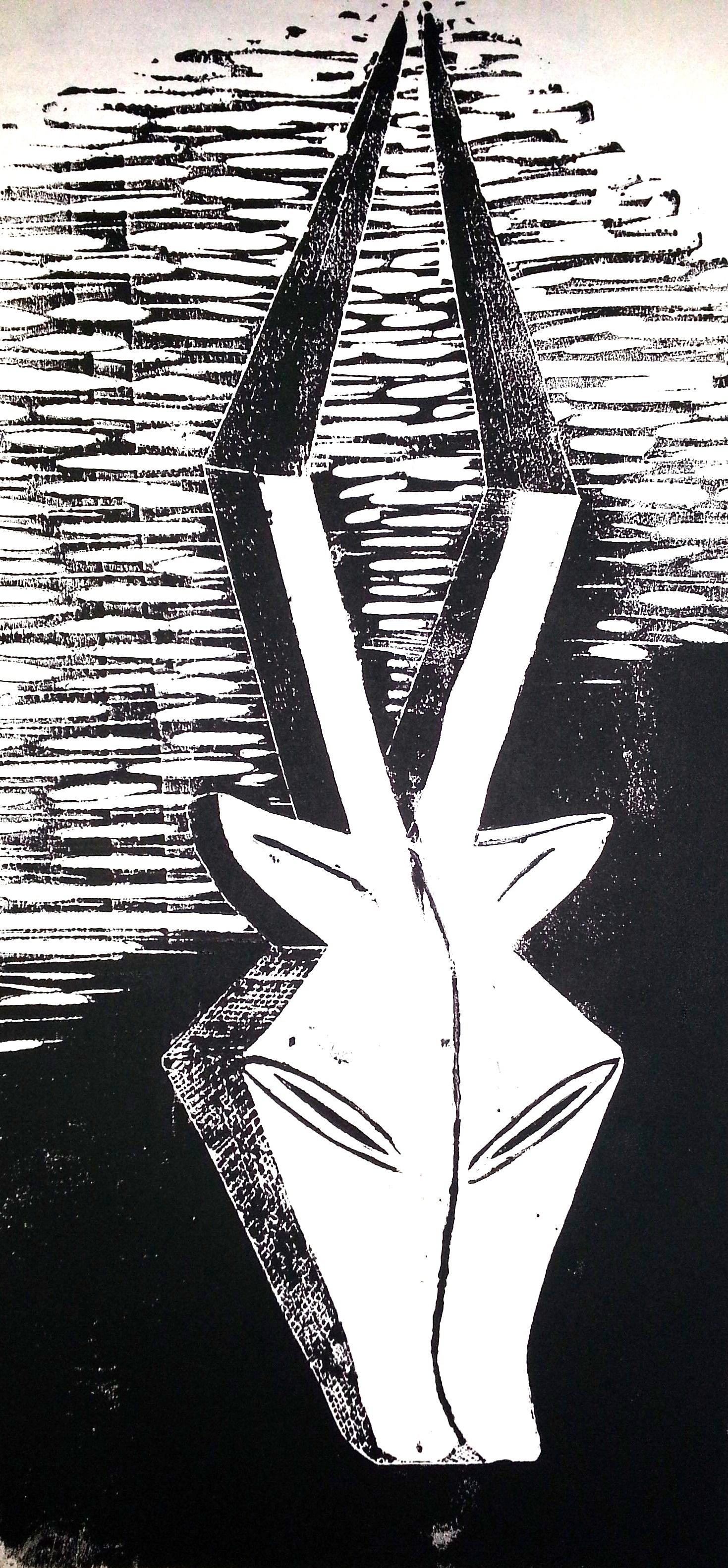 Kwele Maske (Linolschnitt)