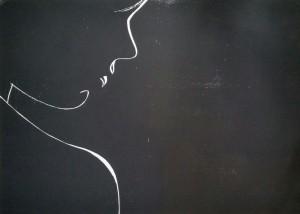 Weibliches Profil Holzschnitt