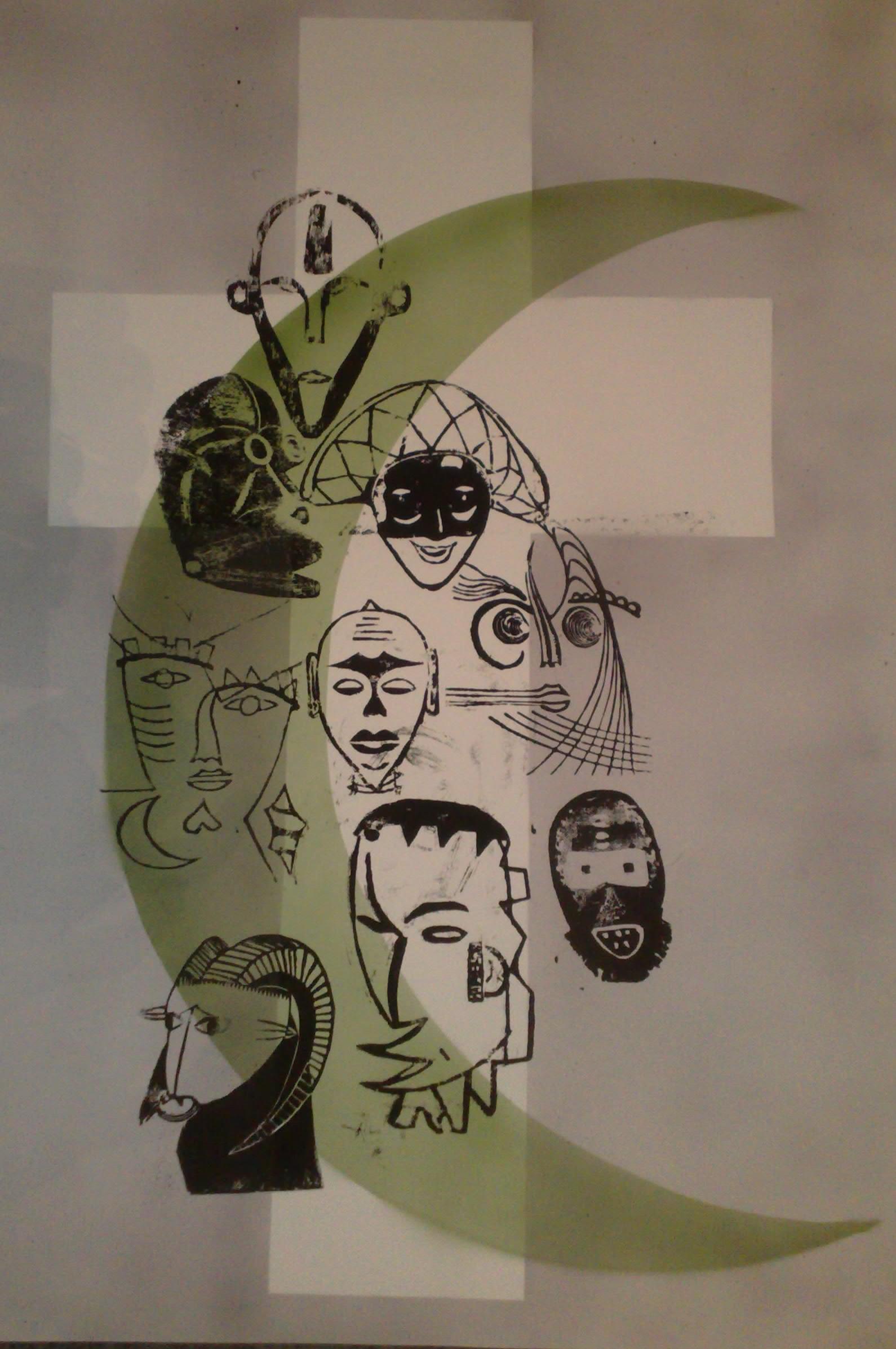 Aberglaube: Christentum, Islam & Co. 1 - Holzschnitt und Linolschnitt - Mischtechnik