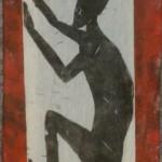 Abschiebung Holzschnitt (rot)
