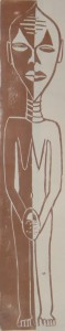 Afrikanisches Idol - braun - Holzschnitt