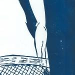 Weiblicher Akt mit Netzstrumpf - Linolschnitt