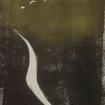 Weiblicher Akt mit gesenktem Blick - Holzschnitt