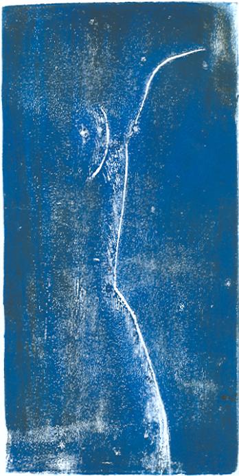 Blauer Akt - Linolschnitt