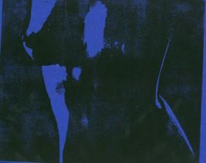 Weiblicher Torso - Brüste Holzschnitt blau