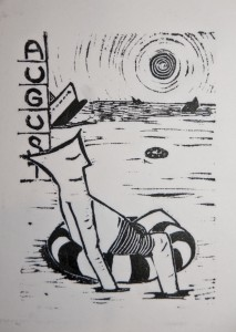 Kalenderblatt August Arbeitswelt Linolschnitt