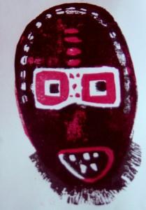 Bärtige Maske - Afrika - Zwei-Farben- Holzschnitt
