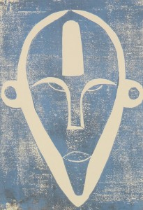 Boa Maske blau aus Zaire - Holzschnitt