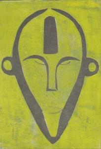 Boa Maske gelb aus Zaire - Holzschnitt