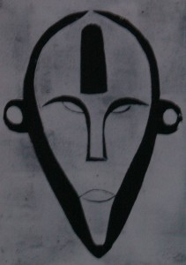 Boa Maske aus Zaire - Holzschnitt