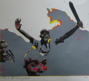 Children of Africa - Kenya riots 2008 - wood print