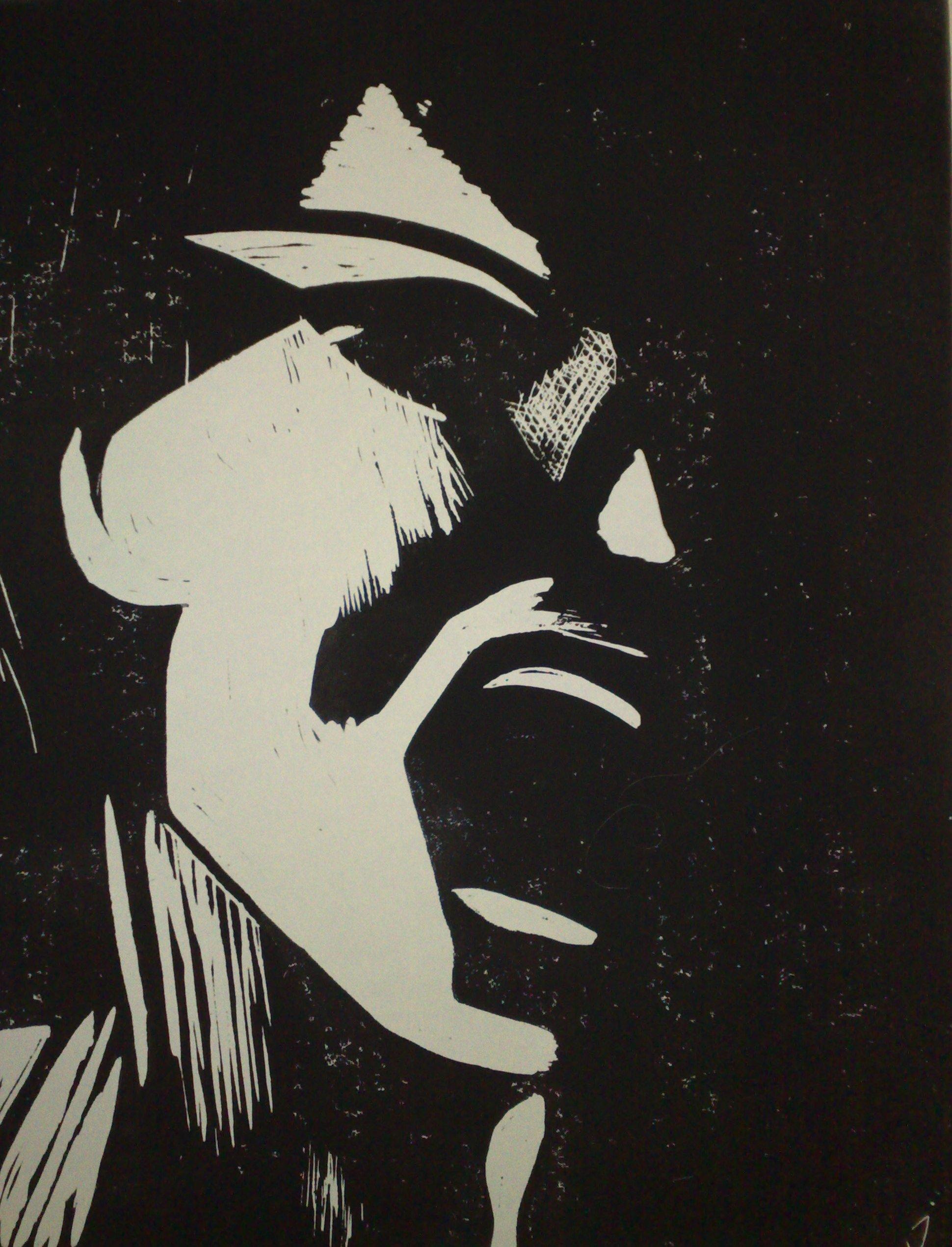 Crying man -Linolschnitt