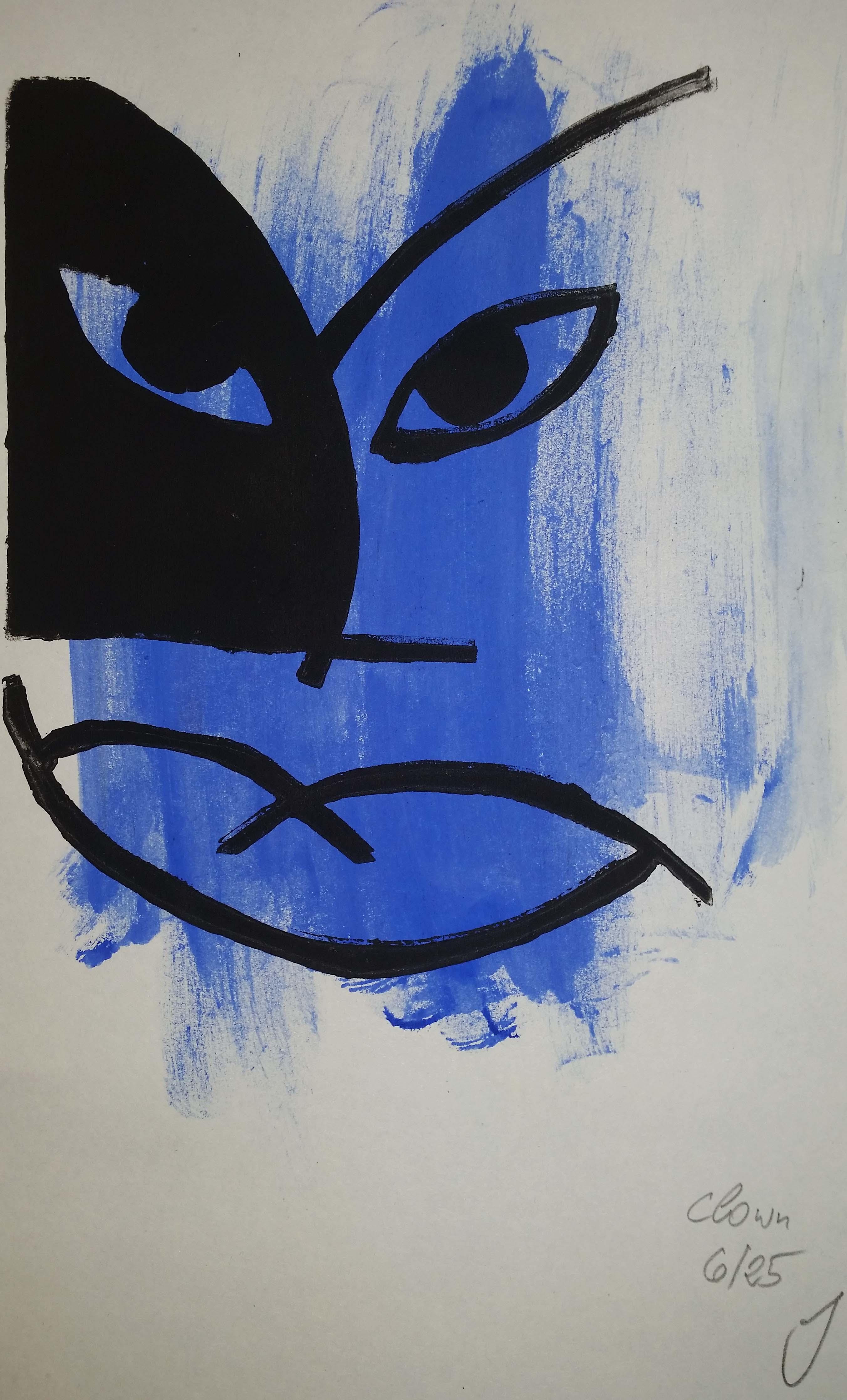der-clown-Zwei-Farben-Linolschnitt2