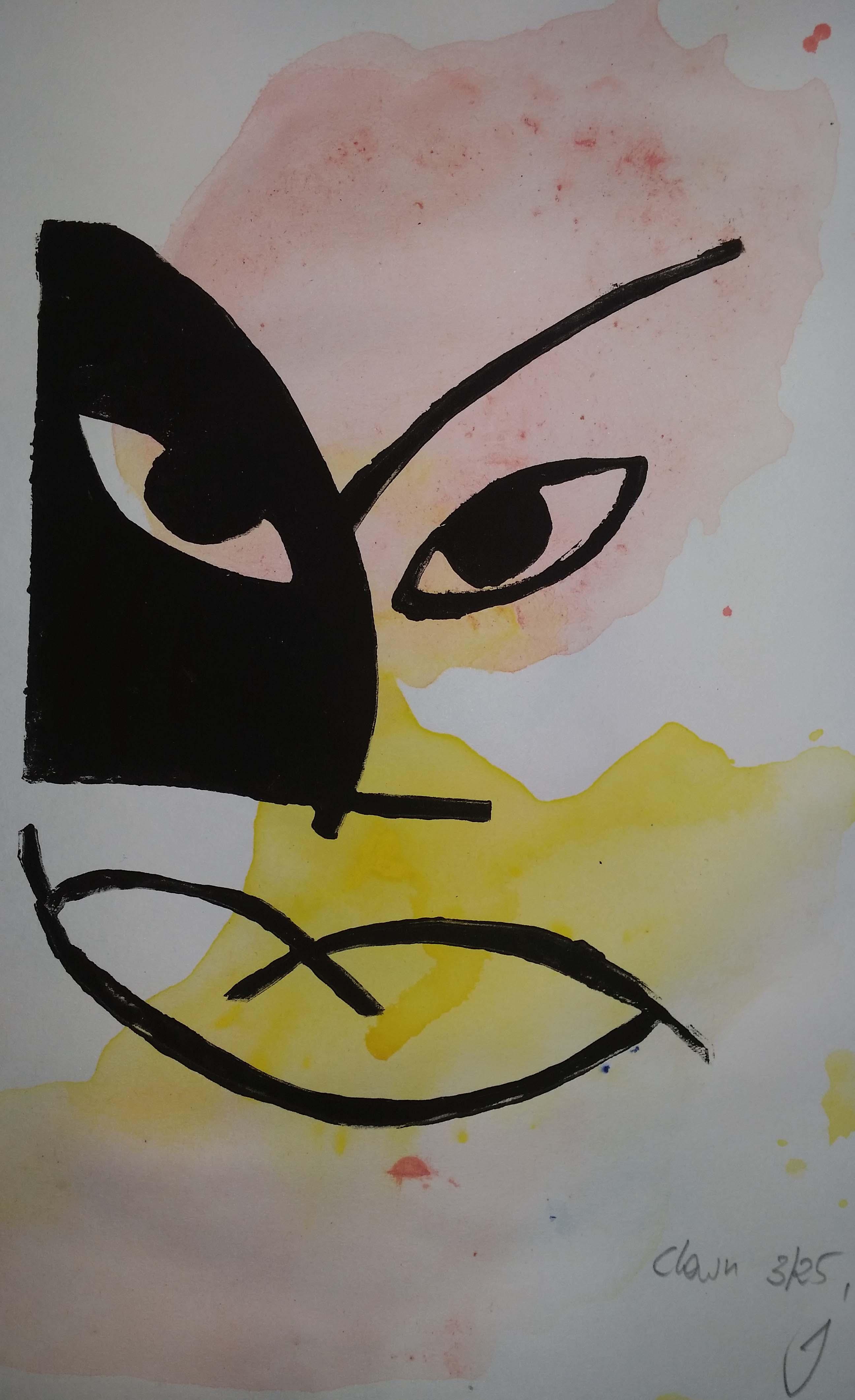 der-clown-Zwei-Farben-Linolschnitt5