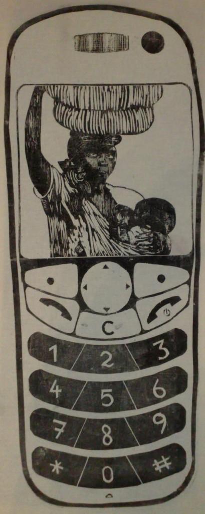 Der Fluch des Coltan - Mama Afrika - Mobiltelefon - Holzschnitt