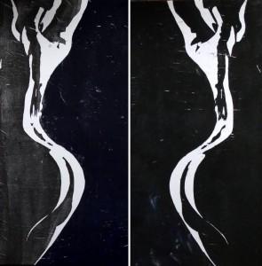 Doppelter Akt: Zwei Holzschnitte einer nackten Frau zusammen gehängt