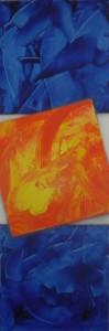 Fallendes oranges Quadrat - Acryl auf Leinwand
