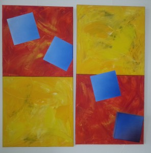 Fallendes Quadrat 40x80 Acryl und Airbrush