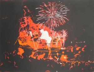 Feuerwerk am Olympiasee in München - Linoldruck als verlorener Schnitt