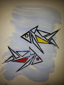 Linolschnitt Fische