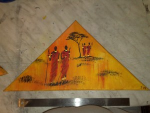 four African warriors - acryl on canvas triangle