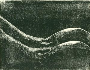 gay lino cut- männlicher Hintern Linolschnitt