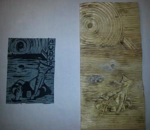 Die Druckplatte des Holzschnitts 'Wassermann'