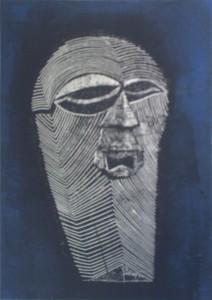 Maske Kifwebe schwarzblau