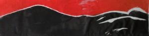 Liegende Akt Holzschnitt rot