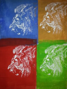lion-four-colours-woodcut-holzschnitt