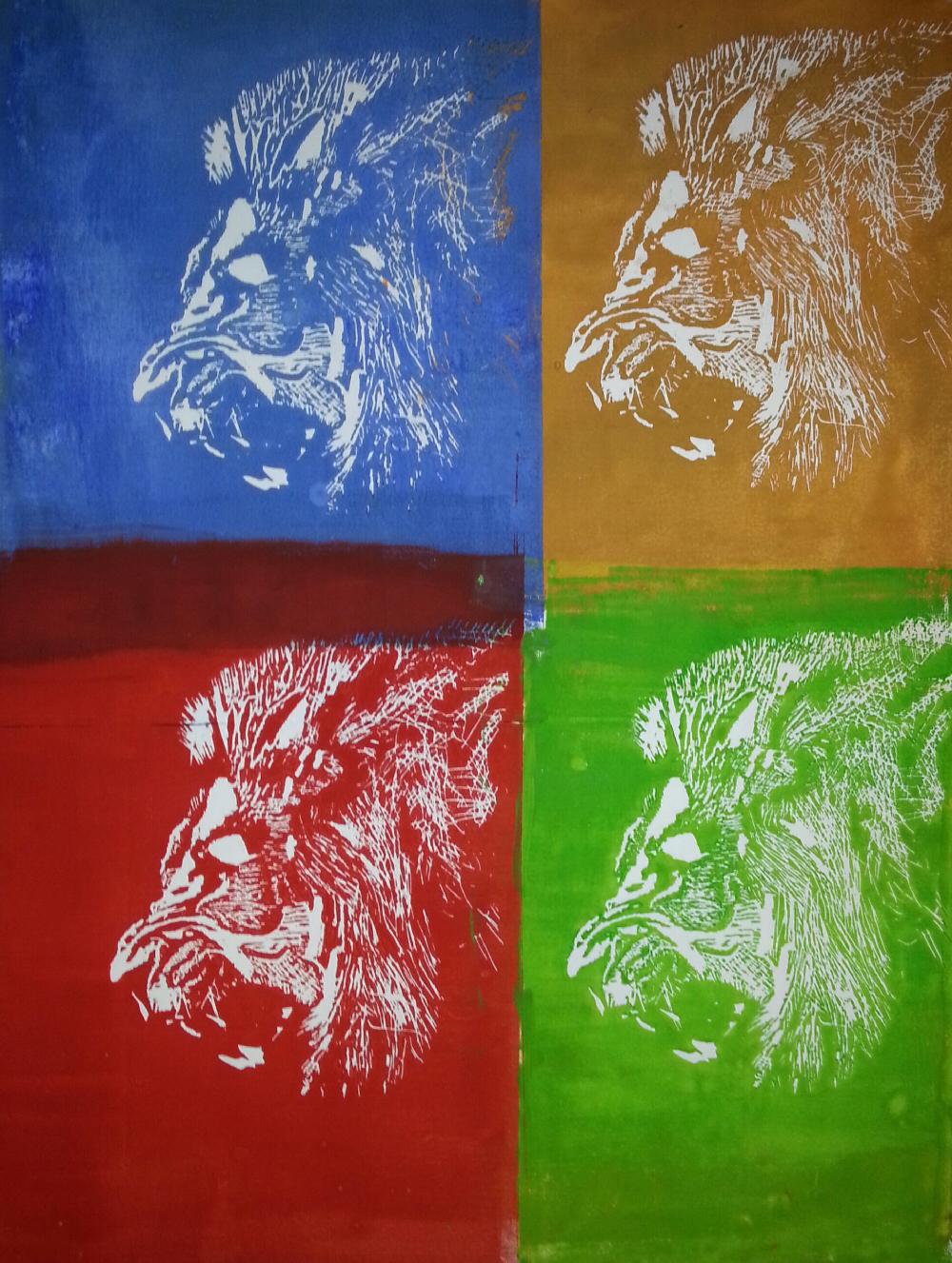 Löwe - Holzschnitt in verschiedenen Farben