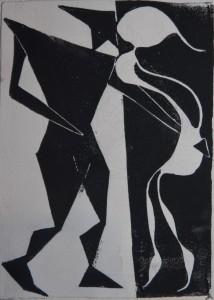 Männliches Prinzip - weibliches Prinzip - Linolschnitt