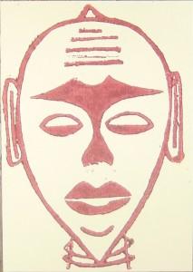 Afrikanischer Maskenkopf - Hoplzschnitt rot