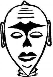 Afrikanischer Maskenkopf - Hoplzschnitt schwarz