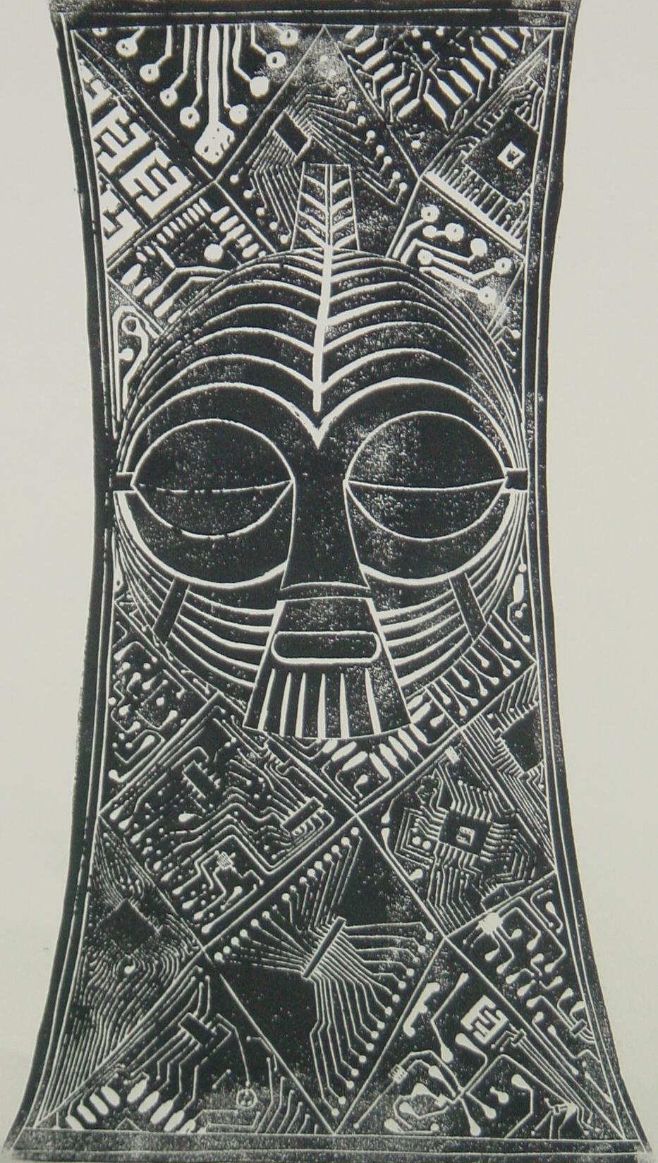Maskenschild der Luda - Linolschnitt