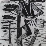 Maskierter afrikanischer Trommler Linolschnitt