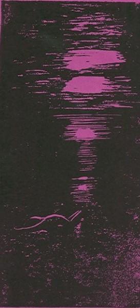 Nackter Akt am Strand - violett - Linolschnitt