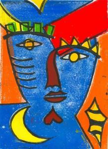 Nachtmaske (blau) - Linolschnitt