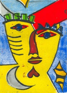 Nachtmaske (gelb) - Linolschnitt