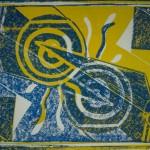 Nummer Eins blau/gelb Linolschnitt