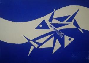 Sternzeichen Fische, Holzschnitt