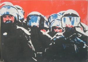 Polizei-Gewalt-Demonstration - Holzschnitt